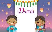 Diwali or Deepavali greeting template. Cute cartoon Indian kids holding diwali diya with marigold mango leaf & sky lantern on night landscape background. Indian festival of lights flat vector.