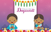 Diwali or Deepavali greeting template. Cute cartoon Indian kids holding diwali diya with marigold mango leaf & fireworks on night background. Indian festival of lights flat vector.