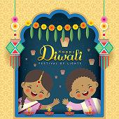 Diwali or Deepavali greeting card. Cute cartoon Indian kids with diwali diya, kandil lantern, marigold mango leaf door hanging, sky lantern & window frame. Indian festival of lights flat vector.