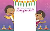 Diwali or Deepavali greeting template. Cute cartoon Indian kids with diwali diya, marigold mango leaf & fireworks on night background. Indian festival of lights flat vector.