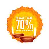 diwali sale background with diya