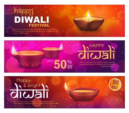 Diwali sale offer banners, Indian Deepavali lamps