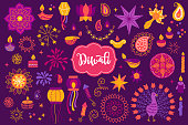 Diwali design elements set with mandala, diya, lantern, garland, stars, paisley, candles, firecracker, firework, confetti, peacock, fire, lotus, flower on dark violet background