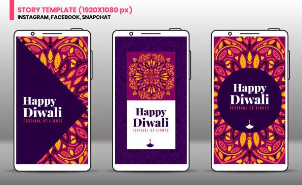 Diwali Social Network story template Diwali Social Network story template. diwali stock illustrations