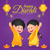 Diwali/Deepavali vector illustration with  Cute indian kids enjoying firecracker, hanging kandil and diya (india oil lamp)
