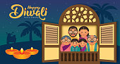Diwali/Deepavali vector illustration with  Happy indian family celebrate the festival.