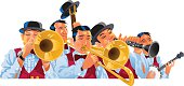 Illustration of a Dixieland jazz band. JPG file and EPS10 file. Transparencies used.