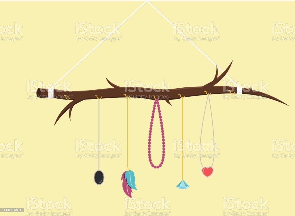 Diy Jewelry Holder Flat Design stock vector art 900114614 | iStock