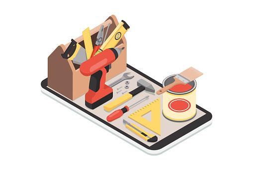 Vetores de Diy App Móvel e mais imagens de Aplicação móvel