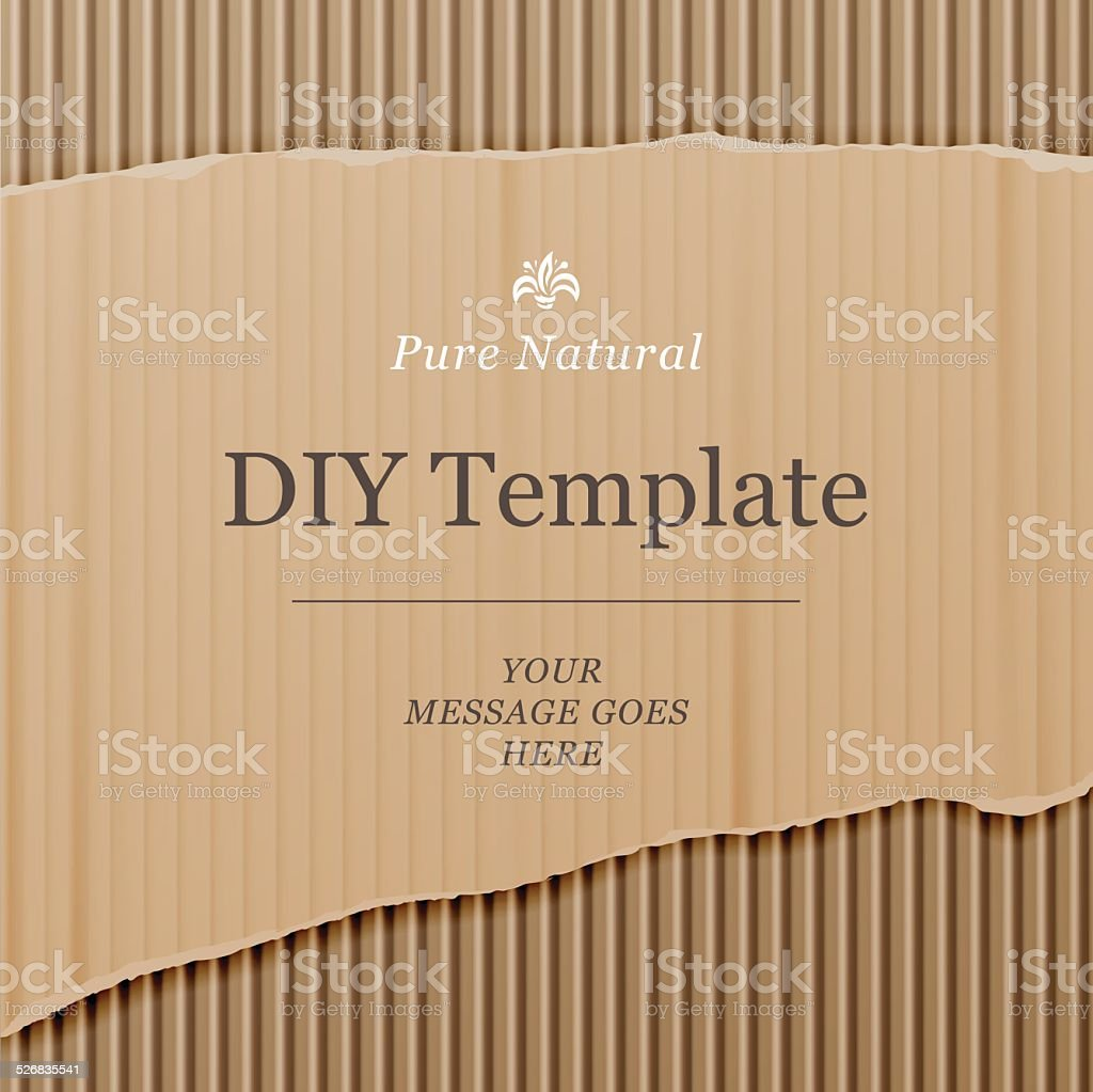 Diy template with cardboard texture background vector art illustration