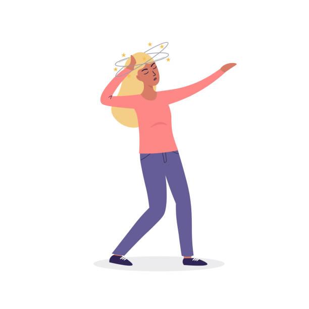 dizziness head woman symptom vector art illustration