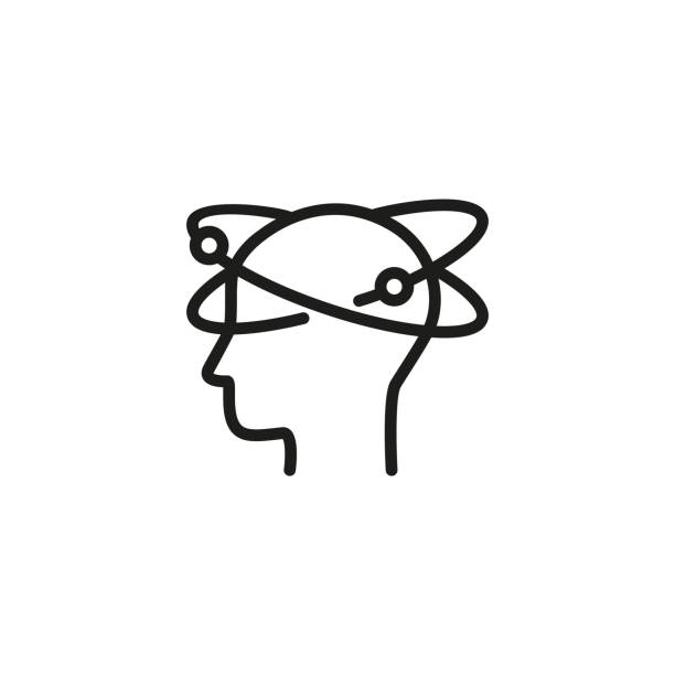 schwindel-liniensymbol - höhenangst stock-grafiken, -clipart, -cartoons und -symbole