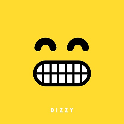 Dizzy emoticons emoji banner. Social media reaction concept. Vector EPS 10. Isolated on background
