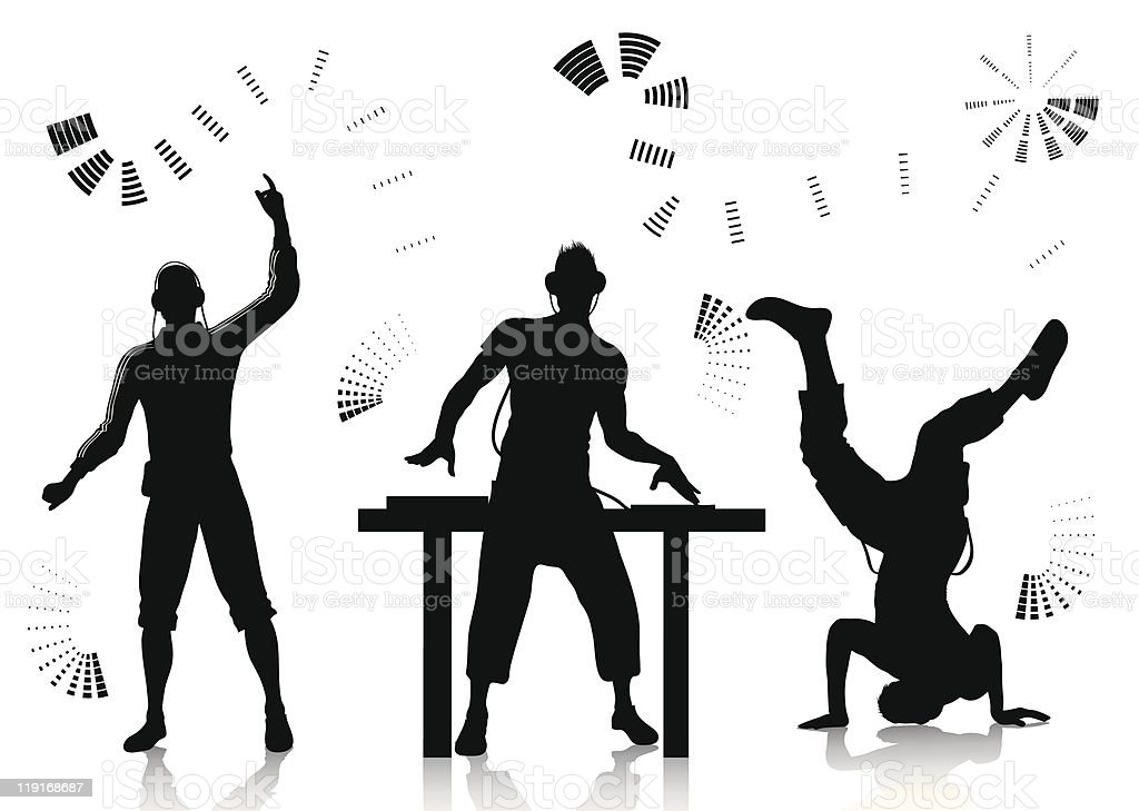 Dj and clubber silhouettes vector art illustration