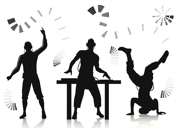 stockillustraties, clipart, cartoons en iconen met dj and clubber silhouettes - dj