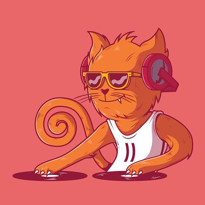 Dj cat vector illustration