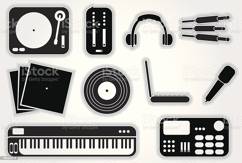Dj Elements Set 1 royalty-free dj elements set 1 stock vector art & more images of cable