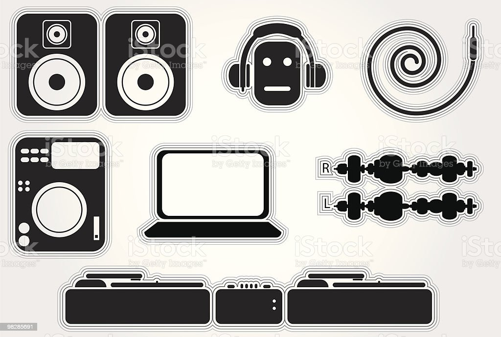 Dj Elements Set 2 royalty-free dj elements set 2 stock vector art & more images of cd-rom
