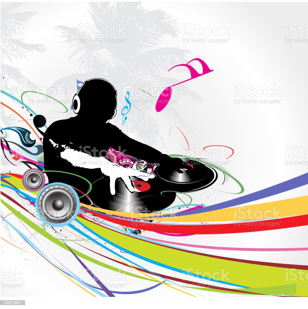 dj man playing tunes vector art illustration
