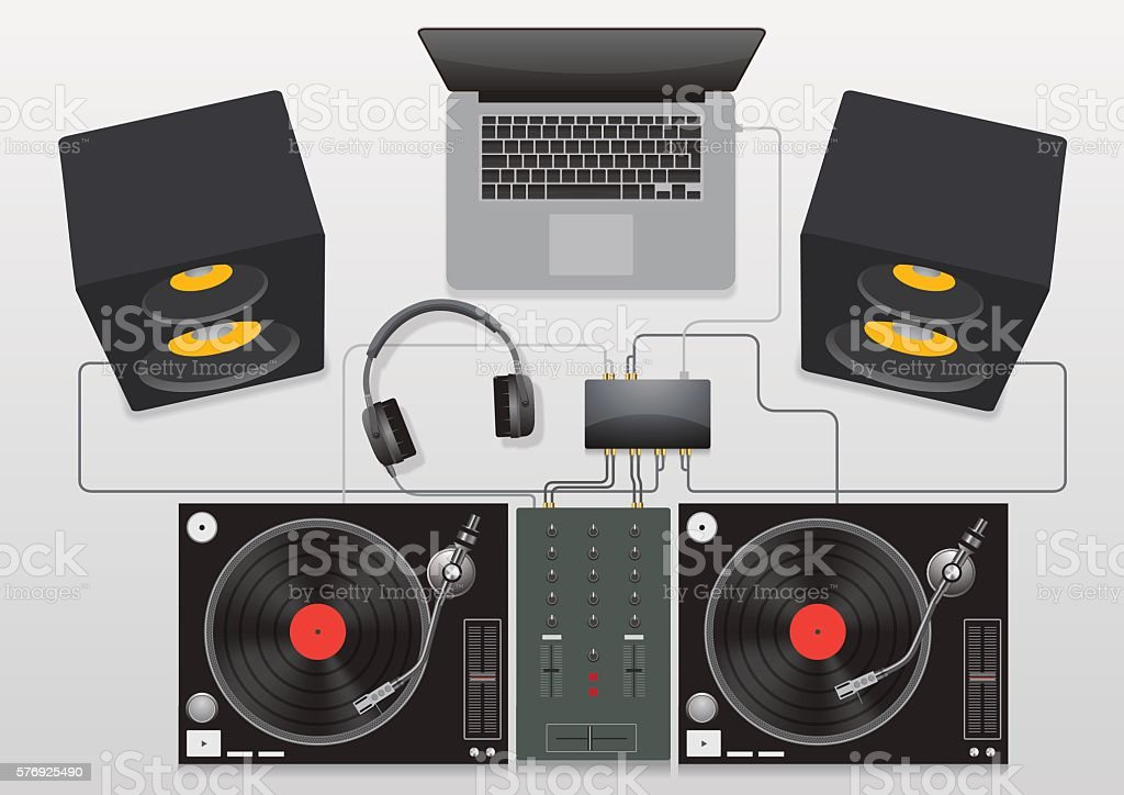dj mixing turntable set vector vector art illustration