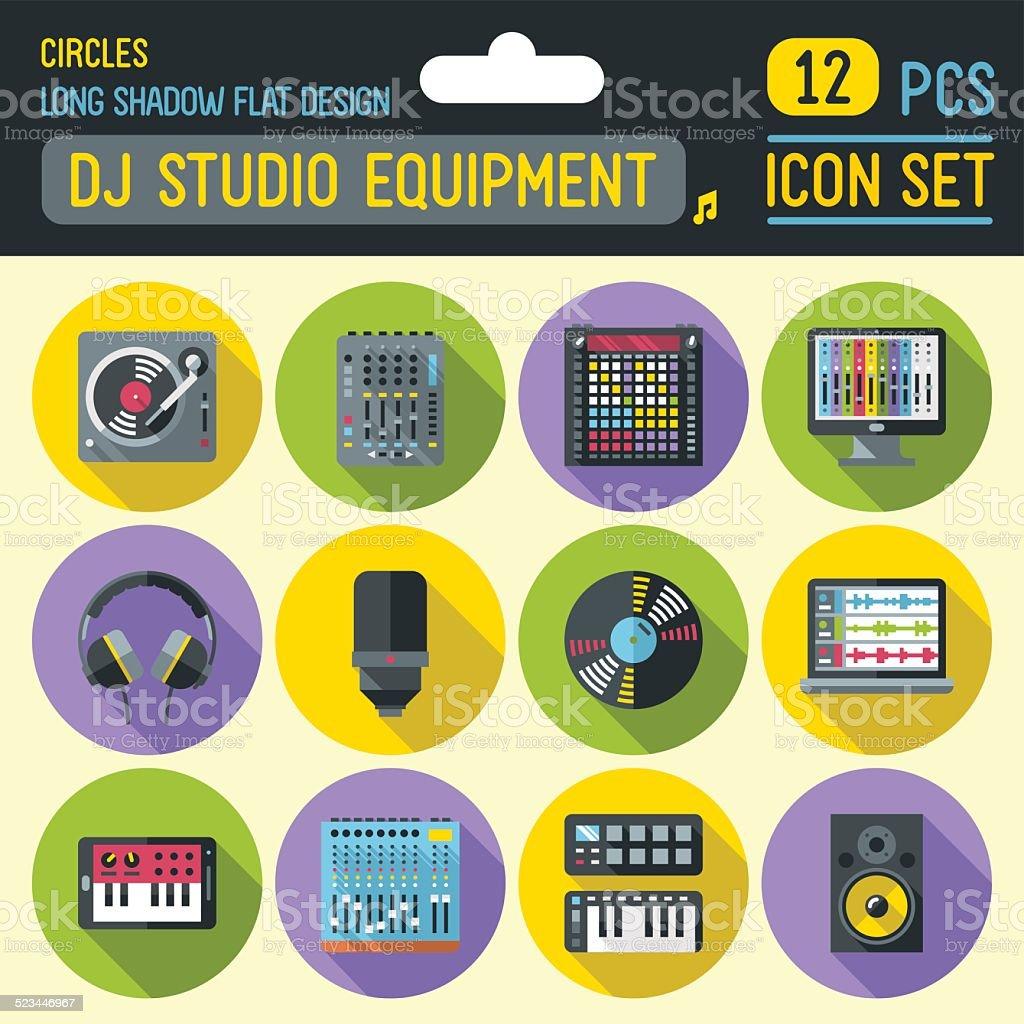 Dj music studio equipment circle icon set. Vector trendy illustrations. vector art illustration