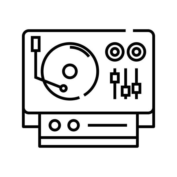ilustrações, clipart, desenhos animados e ícones de ícone da linha de estação dj, sinal de conceito, ilustração vetorial de contorno, símbolo linear - ícones de festas e estações
