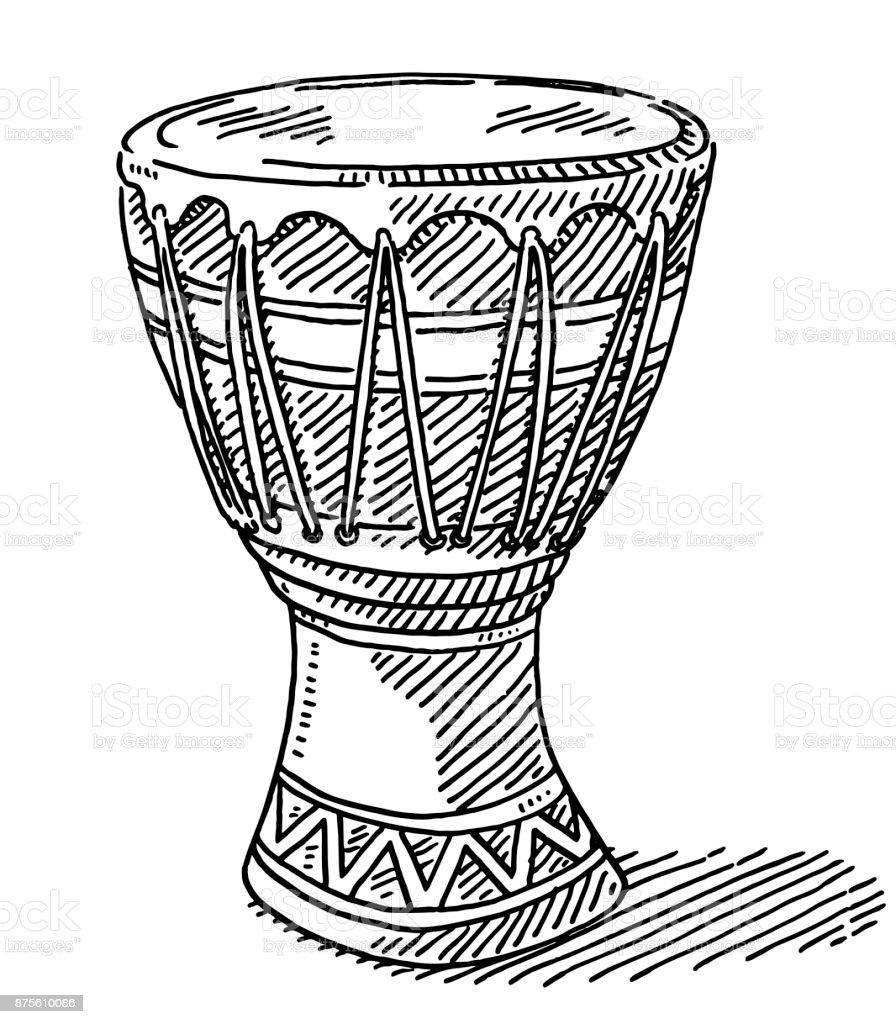 Djembe African Drum Drawing Stock Vector Art & More Images of ...