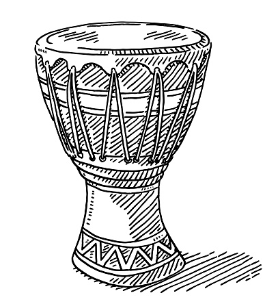 Djembe African Drum Drawing