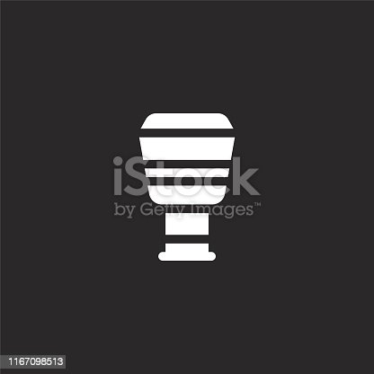 djembe icon. Filled djembe icon for website design and mobile, app development. djembe icon from filled music instruments collection isolated on black background.