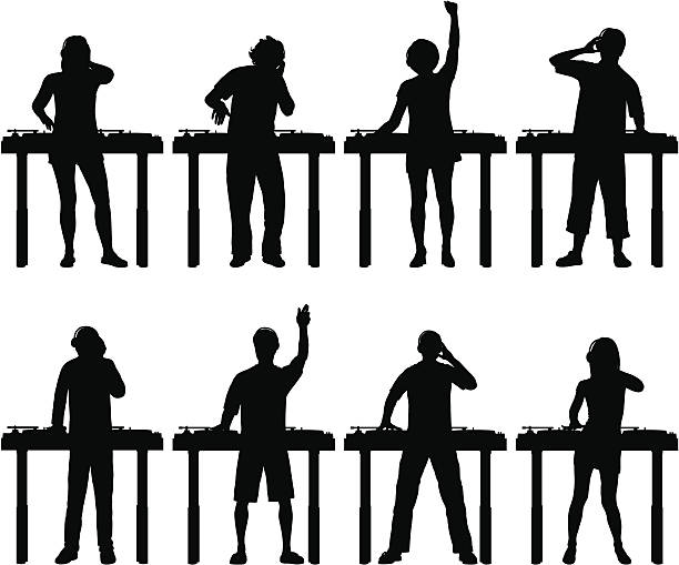 stockillustraties, clipart, cartoons en iconen met djs - dj