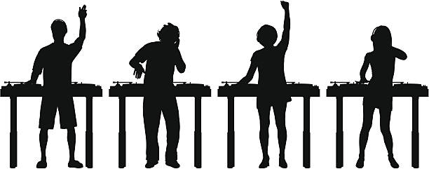 DJs Detailed DJ silhouettes. radio dj stock illustrations