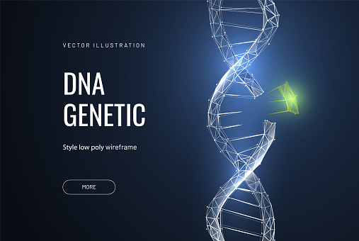 Dna disease concept. Blue structure style illustration. Vector