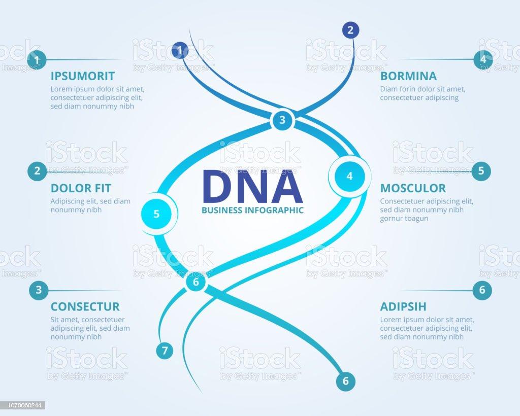 Ilustración De Infografía De Adn Concepto Científico Médico Del Vector De La Estructura Del Biología Humana Espiral Con Lugar Para El Texto Y Más