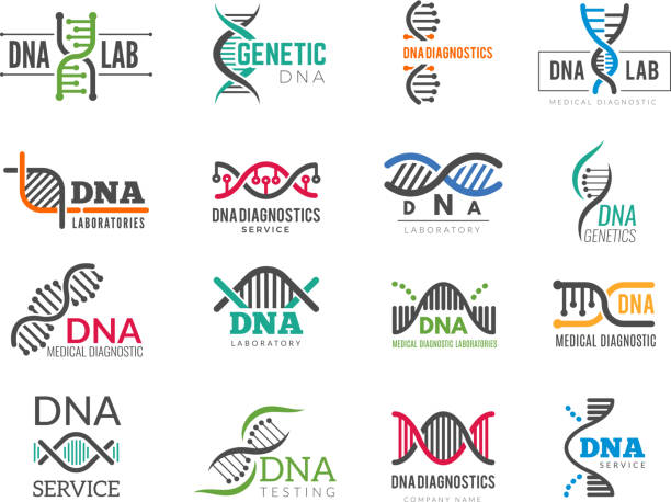 stockillustraties, clipart, cartoons en iconen met dna-logo. business identity met science biotech symbolen farmaceutische bio iconen - dna