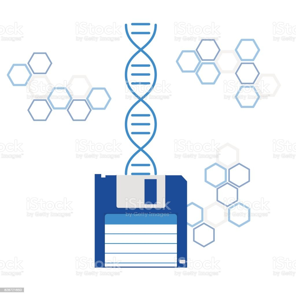 dna sequencing genome information saving vector art illustration
