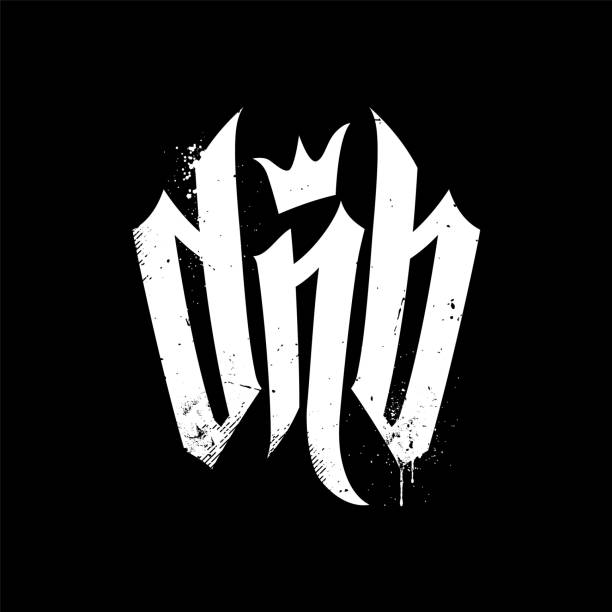 dnb vector lettering for drum and bass fans - jungle stock illustrations