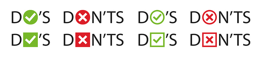 Do and Don't, check mark and cross vector icons set. Vector Do's and Don'ts checklist symbols in circle.