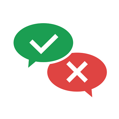 Do and don't icon. Speech bubble icon