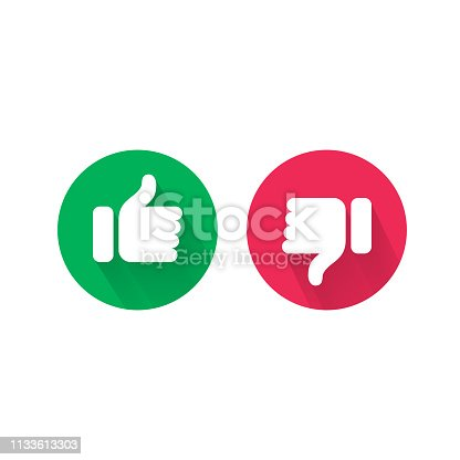 istock Do and Dont thumb up and down vector icons. Vector red bad and green good, Like and unlike symbols for negative and positive check 1133613303