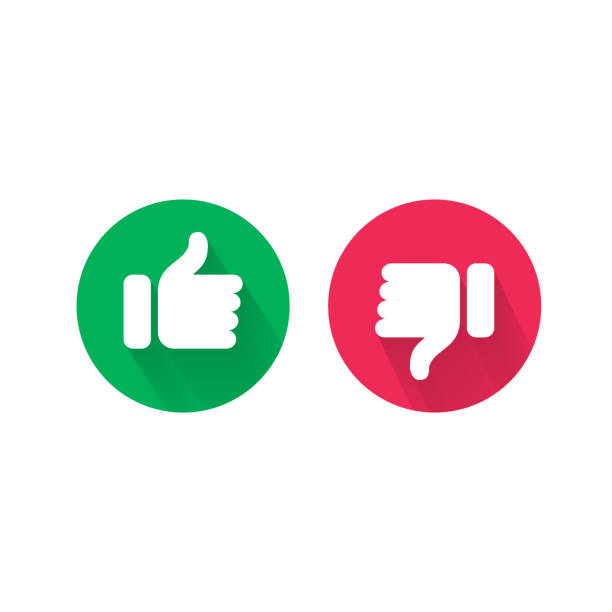Do and Dont thumb up and down vector icons. Vector red bad and green good, Like and unlike symbols for negative and positive check Do and Dont thumb up and down vector icons. Vector red bad and green good, Like and unlike symbols for negative and positive check displeased stock illustrations