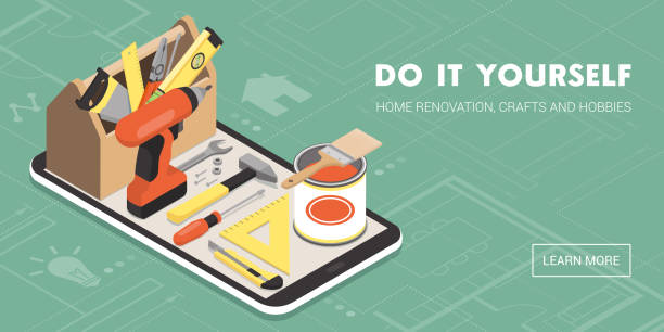 Do it yourself and home renovation app Do it yourself and home renovation app: toolbox and tools on a smartphone with icons diy stock illustrations