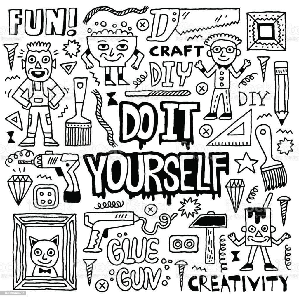 Do it yourself creativity craft funny doodle set black and white do it yourself creativity craft funny doodle set black and white drawing vector solutioingenieria Images