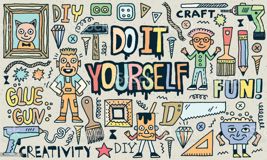 Do It Yourself. Creativity Craft Funny Doodle Set. Color Drawing. Vector Illustration. Texture Background. vector art illustration