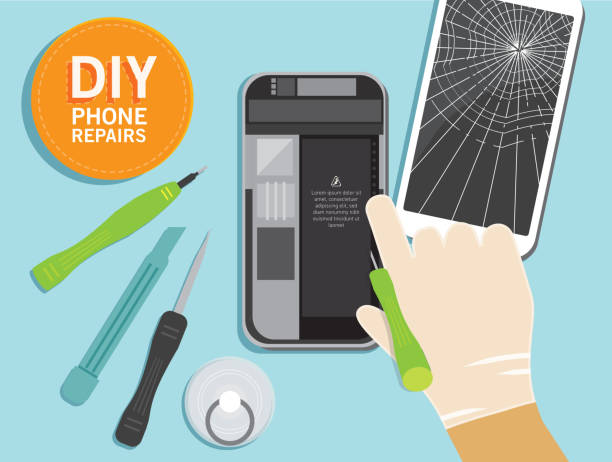 Royalty free cell phone repair clip art vector images do it yourself device repair concept overhead viewpoint vector art illustration solutioingenieria Image collections