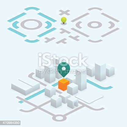 isometric vector street map kit to build your own. the pin points an orange building among grey buildings.