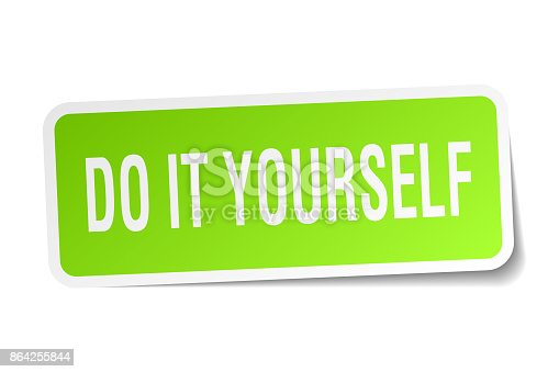 Do It Yourself Square Sticker On White Stock Vector Art & More Images of Badge 864255844
