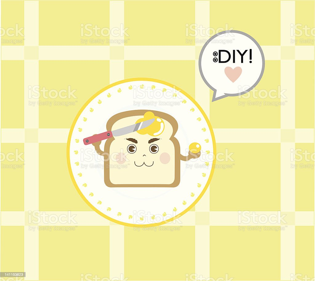 Do It Yourself (DIY) Toast (Bread) with Butter royalty-free stock vector art