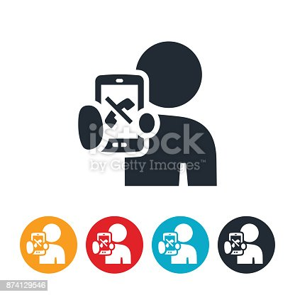 An icon of a person holding out their phone with a phone and a cross through it to represent unsolicited phone calls.