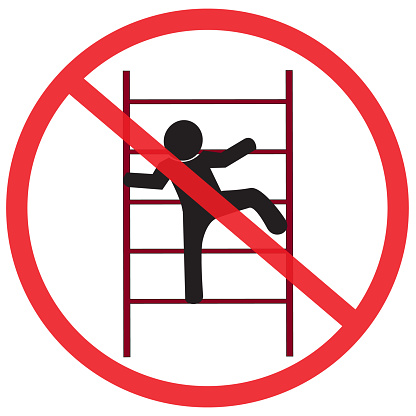 do not climb on shelving. Not Allowed Sign, warning symbol, road symbol sign and traffic symbol design concept