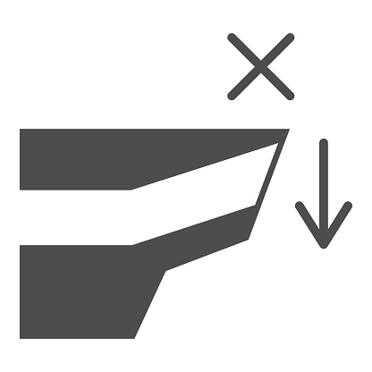 Do not come close to cliff solid icon, Safety engineering concept, warning sign and cliff on white background, Fall danger icon in glyph style for mobile and web design. Vector graphics.